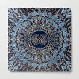 Egyptian Scarab Beetle Gold and Blue marble Metal Print
