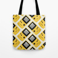 gameboy Tote Bags featuring Gameboy Color: Yellow (Pattern) by Zeke Tucker