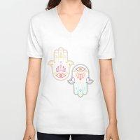 hamsa V-neck T-shirts featuring Hamsa by Lucky Skye