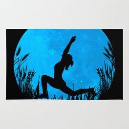 Yoga Moon Posture - Blue Rug