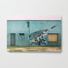 One Fish, Teal Fish Metal Print