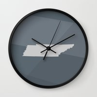 tennessee Wall Clocks featuring Tennessee State by Eric Heikkinen