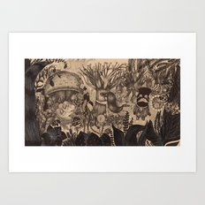 Confessing to the old tree Art Print