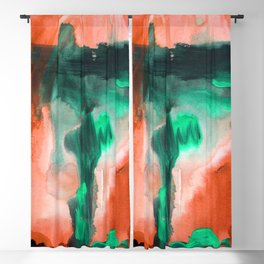 Abstract Window Red & Green Blackout Curtain