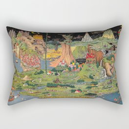 The land of make believe. Published by Jaro Hess 1930 Cornucopia of Fairy Tales Detailed Labeled Map Fun Magical Fantasy Art Rectangular Pillow