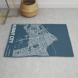 Kuwait City Blueprint Street Map, Kuwait City Colour Map Prints Rug