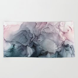 Blush and Payne's Grey Flowing Abstract Painting Beach Towel