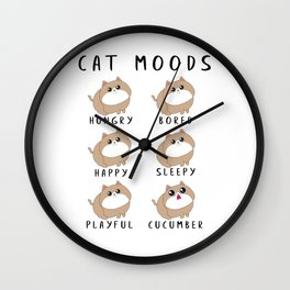 Funny Cat Moods Design For Cat Lovers Wall Clock