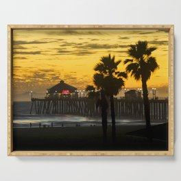 Huntington Beach Pier Sunset 12-20-18 Serving Tray