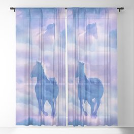 Horses run Sheer Curtain