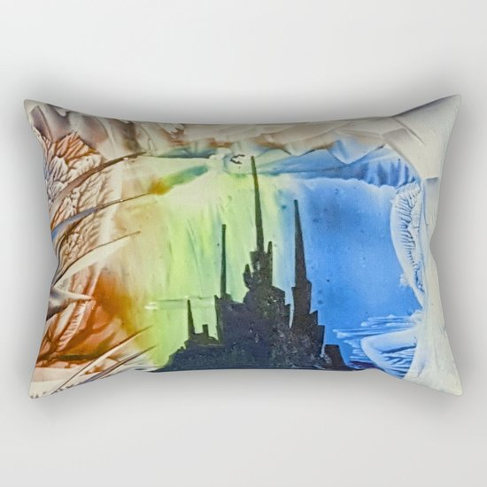 Blue alien cityscape Rectangular Pillow