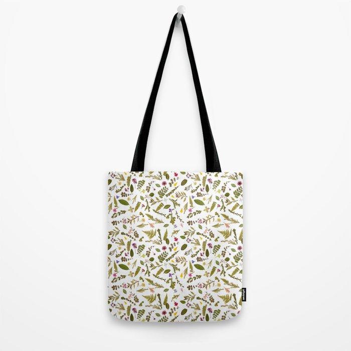 Greenery Floral Pressed Flowers Tote Bag