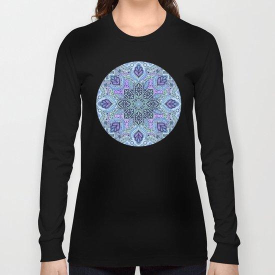 Navy Blue, Mint and Purple Boho Pattern  Long Sleeve T-shirt