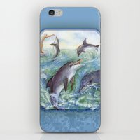 dolphins iPhone & iPod Skins featuring Dolphins by Natalie Berman