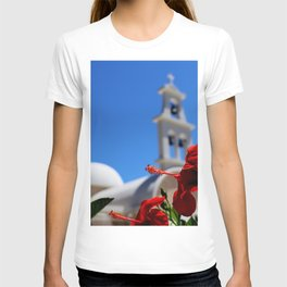 Red hibiscus in front of a greek orthodox church T-shirt
