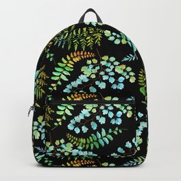 Ferns on black Backpack