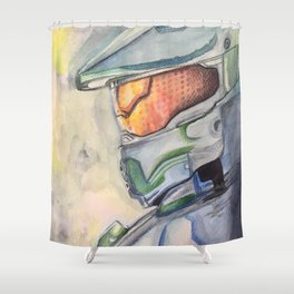 Halo gaming watercolor design Shower Curtain