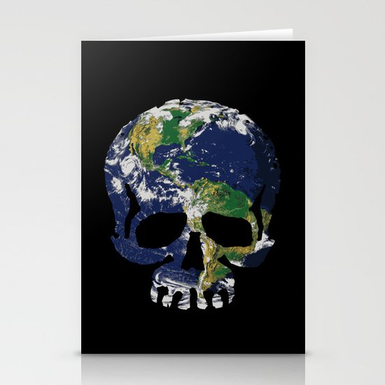 Skull Earth Stationery Cards