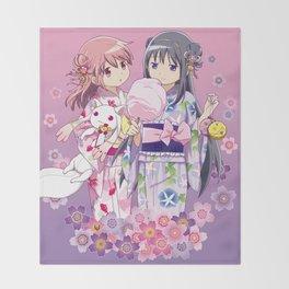 Madoka Kaname & Homura Akemi - Love Yukata edit. Throw Blanket
