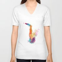 saxophone V-neck T-shirts featuring Saxophone by jbjart