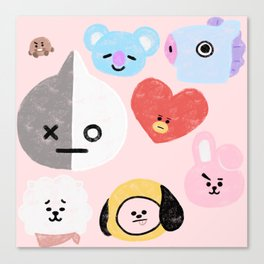 BTS21 Characters in Pastel Canvas Print