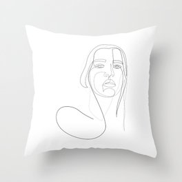 circly - linear girl portrait Throw Pillow