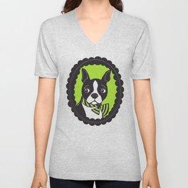Boston Terrier Printmaking Art Unisex V-Neck