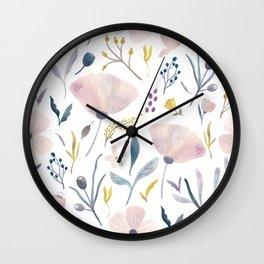 Delicate Pastel Flowers Wall Clock