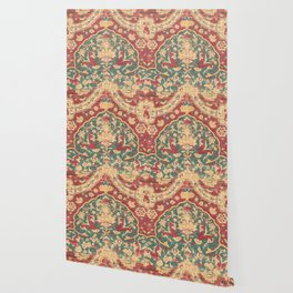 Peonies Kashan II // 16th Century Distressed Colorful Red Tan Light Blue Ornate Accent Rug Pattern Wallpaper