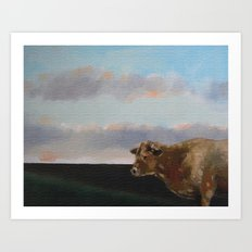 cow thinking about grass Art Print