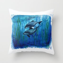 """Maui's Magic"" by Amber Marine ~ (Maui's Dolphins) Watercolor Painting, (Copyright 2016) Throw Pillow"