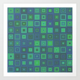 Green Abstract Square Pattern Art Print