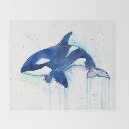 Killer Whale Orca Watercolor Throw Blanket