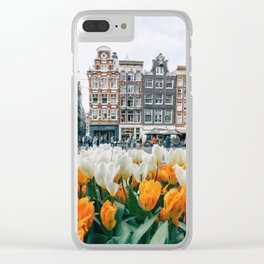 Houses and tulips Clear iPhone Case