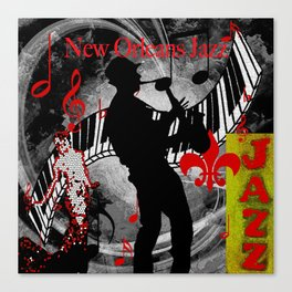 New Orleans Jazz Saxophone And Piano Music Canvas Print