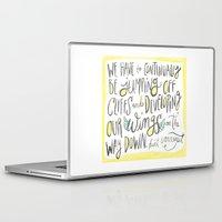 kurt vonnegut Laptop & iPad Skins featuring jumping off cliffs - kurt vonnegut quote by Shaina Anderson