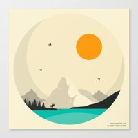 jazzberry Canvas Prints featuring GLACIER NATIONAL PARK, Two Medicine Lake by Jazzberry Blue