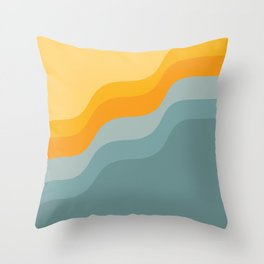 Zen Waves Abstract Geometric Art in Sunset Colors of Ocean and Sun Throw Pillow
