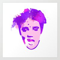 elvis Art Prints featuring ELVIS by BIG Colours