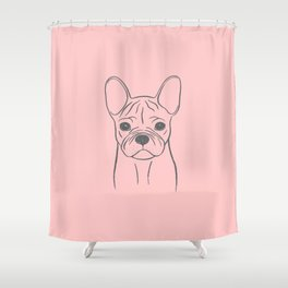 French Bulldog (Pink and Gray) Shower Curtain