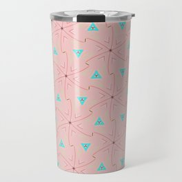 80's pretty in pink w/ turquoise triangles & green leaves Travel Mug
