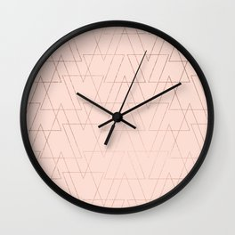modern rose gold geometric thin triangles blush pink abstract pattern Wall Clock