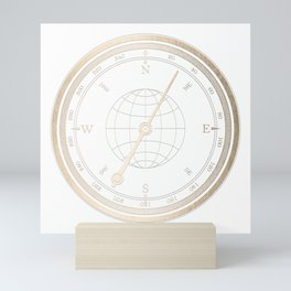 Gold Compass on White Mini Art Print