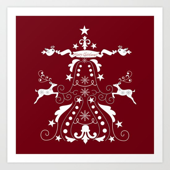 Retro damask christmas tree with text and reindeer Art Print