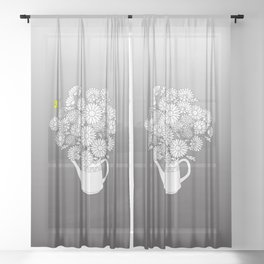 summer yellow butterfly Sheer Curtain
