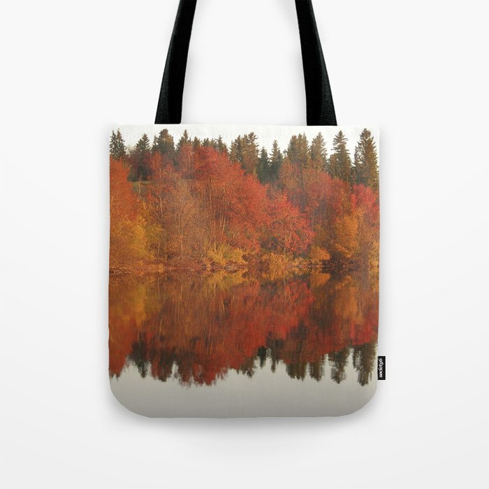Colorful autumn trees reflection in the lake Tote Bag