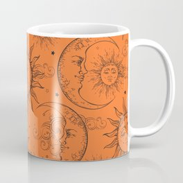 Orange Magic Celestial Sun Moon Stars Coffee Mug
