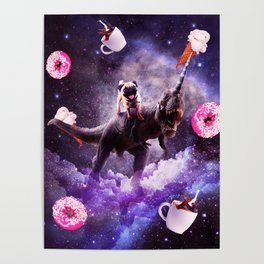 Outer Space Pug Riding Dinosaur Unicorn - Donut Poster