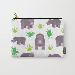Funny hippo with green leaves Carry-All Pouch