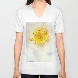 White camellia Unisex V-Neck